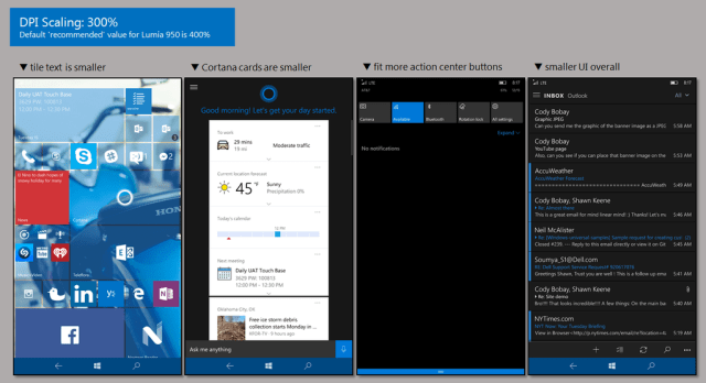 Effects of DPI scaling on the Lumia 950.