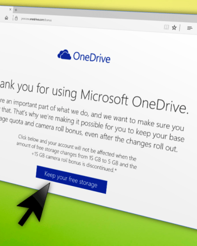 OneDrive opt-in to keep storage