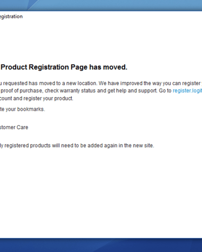 Logitech Dialog. Product registration is now handled online, and you need to register all your devices again.