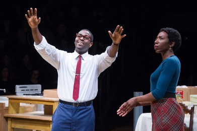 L to R) Bueka Uwemedimo as Joseph Asagai and Joy Jones as Beneatha Younger in A Raisin in the Sun at Arena Stage at the Mead Center for American Theater, running March 31-May 7, 2017. Photo by C. Stanley Photography.