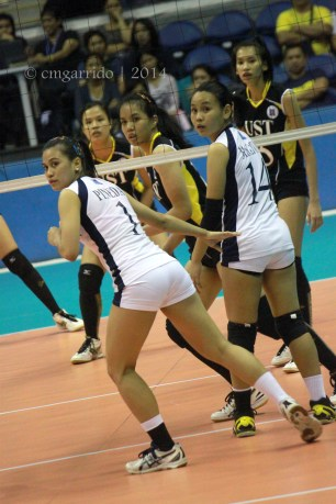 the two other graduating Lady Falcons: Shiela Pineda and Mae Macatuno
