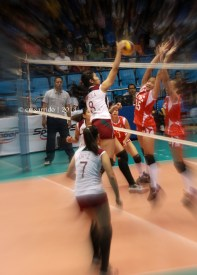UE Lady Warriors going for the block against Bersola