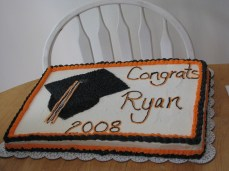 Graduation cake - just a sheet cake with the infamous Wilton stars. My son prefers this kind of cake over my carved cakes for some reason.