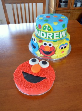 Sesame Street characthers and Elmo Smash Cake