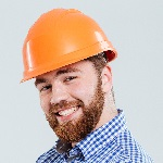 Construction worker with hard hat on