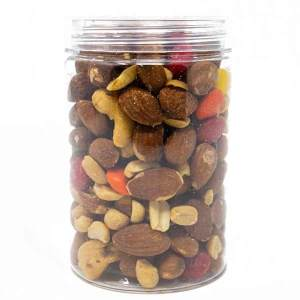 Trail Mix in a Transparent Jar with Plastic Lid