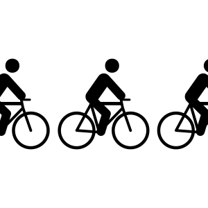 Cyclists all riding in a row