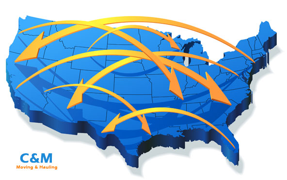 C & M interstate moving & hauling relocation service map