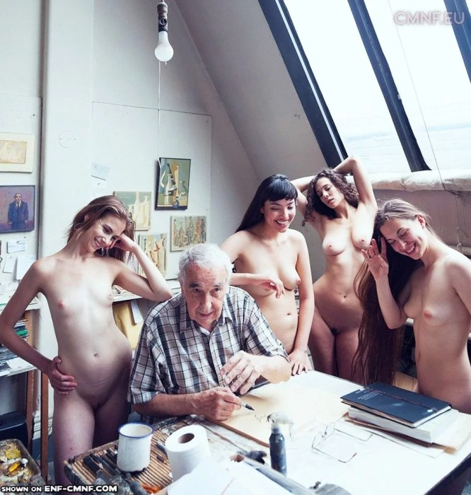 Old man with naked group of women