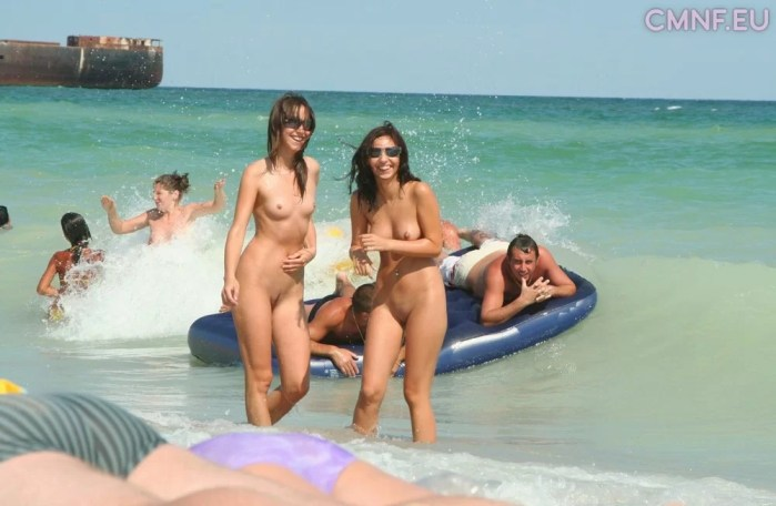 Only one naked on the beach