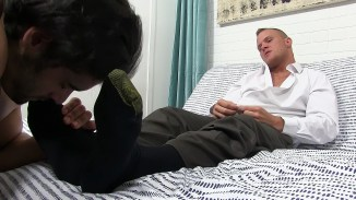 gay slave licking feet