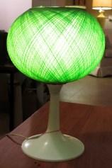 70's era table lamp. Spun green fiberglass shade. SOLD