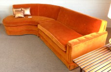 Late 40's orange mohair 2-piece sectional.