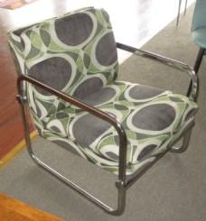 Bent chrome armchair