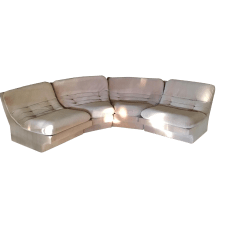 "1980'S KAGAN waterfall velvet 4-pc sectional sofa/slipper/lounge chairs. EACH SECTION: 30""W x 34.5""D x 28.5""H"