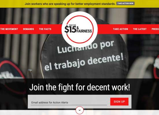 Screen capture of 15 and Fairness campaign website