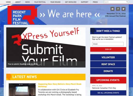 Screen Capture of Regent Park Film Festival website