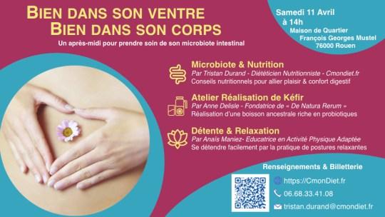 Atelier microbiote et nutrition bien dans son ventre à Rouen le samedi 11 avril 2020