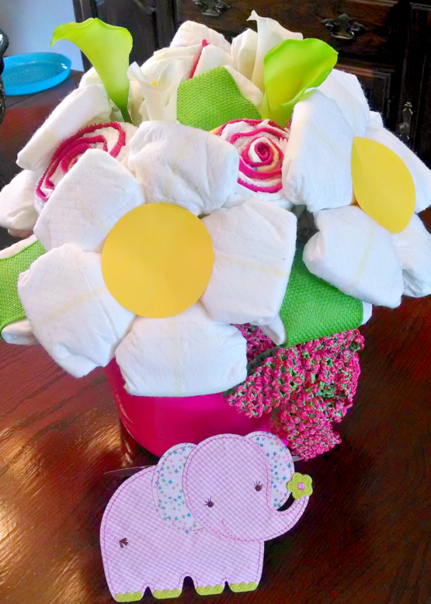 How to create a diaper bouquet for Pink diaper bouquet