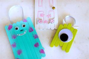 Monster's Inc Popsicle Stick Ornaments {Crafty Destash Challenge}