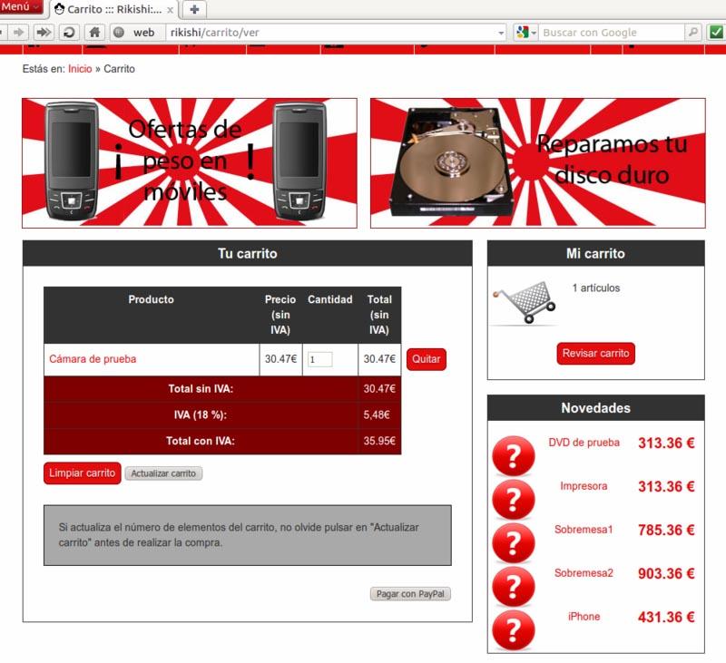 Carrito de la compra de la web de Rikishi