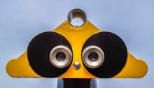 Binoculars that look comically human.