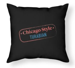 Image of throw pillow with Chicago Style Turabian logo