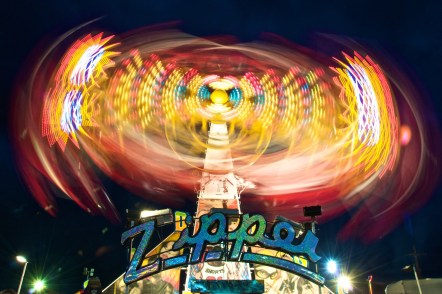 Zipper carnival ride at night