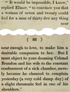 Sense and Sensibility, snippet from pages 87 and 88 in the first edition