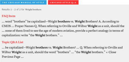 "Search results for ""Wright brothers"" in the Q&A"