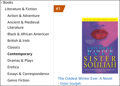 "Screenshot from Amazon.com showing detail of ""Best Sellers in Contemporary Literature & Fiction."" Categories are listed on the left. To the right is the cover image for the number 1 book at the time of the screenshot, ""The Coldest Winter Ever,"" by Sister Souljah."