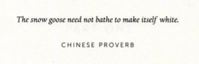 """Epigraph to White Ivy, by Susie Yang: """"The snow goose need not bathe to make itself white. Chinese proverb"""""""