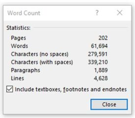 Word Count dialog box in MS Word
