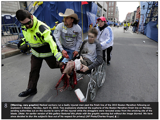FROM THE ATLANTIC —[Warning, very graphic] Medical workers run a badly injured man past the finish line of the 2013 Boston Marathon following an explosion in Boston, Monday, April 15, 2013. Two explosions shattered the euphoria of the Boston Marathon finish line on Monday, sending authorities out on the course to carry off the injured while the stragglers were rerouted away from the smoking site of the blasts. http://www.theatlantic.com/photo/2013/04/photos-of-the-boston-marathon-bombing/100495/