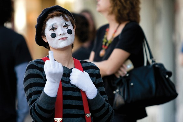 FIRST PLACE: Terry Ting, York University —A Halloween mime attempts at the art of performing a story without the use of speech.
