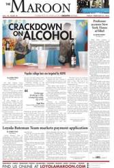 """Before the redesign: """"Crackdown on alcohol,"""" The Maroon, Loyola University, Feb. 21, 2014."""