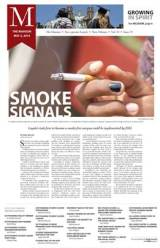 """After the redesign: """"Smoke signals,"""" The Maroon, Loyola University, May 2, 2014."""