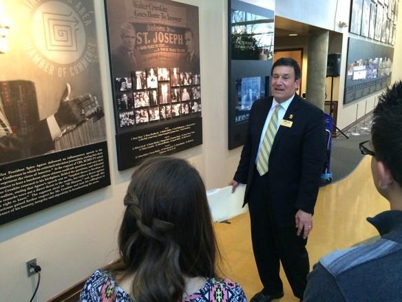 Robert Vartabedian, university president, at the Walter Cronkite Conference on Media Ethics at Missouri Western State University, Nov. 9, 2015. Photo by Bradley Wilson