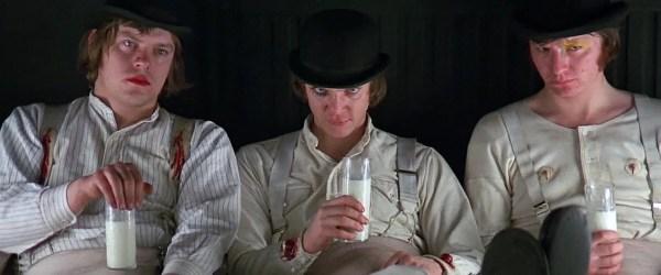 De cast van A Clockwork Orange met Malcolm McDowell, Patrick Magee & Warren Clarke