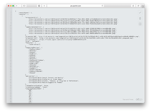 Screenshot of iTunes API response formatted