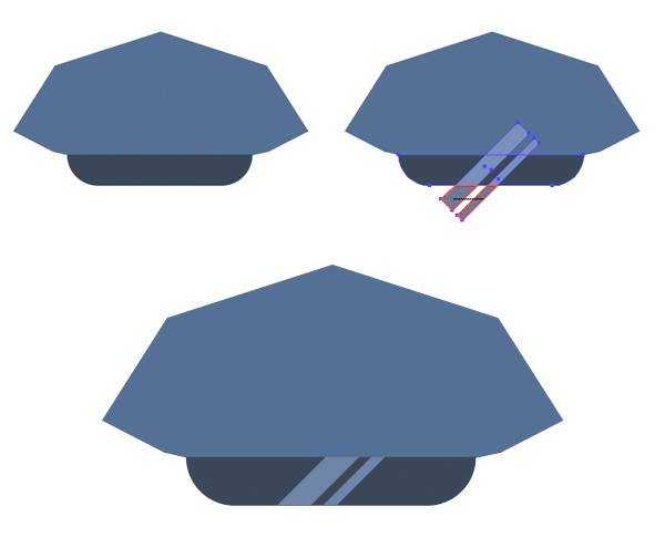 add a peak to the police officer hat