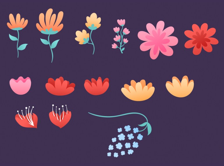 create a set of flowers