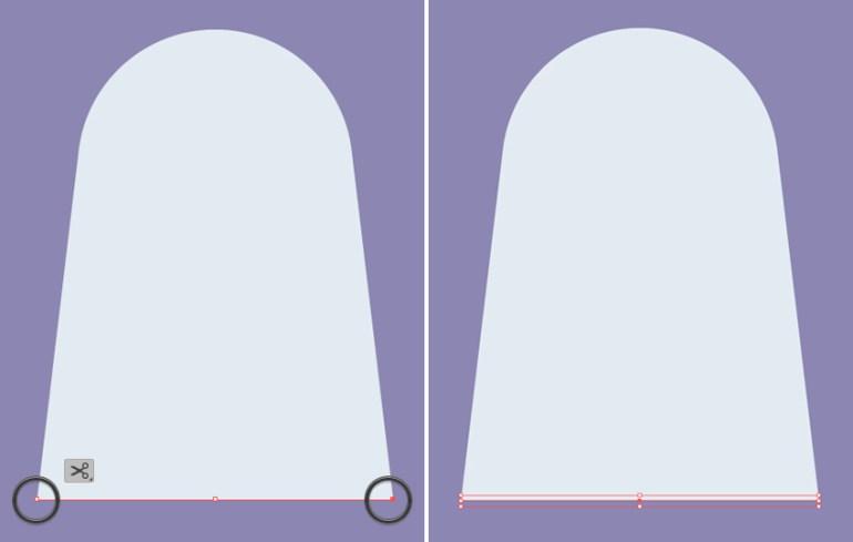 split the bottom edge with the scissors tool