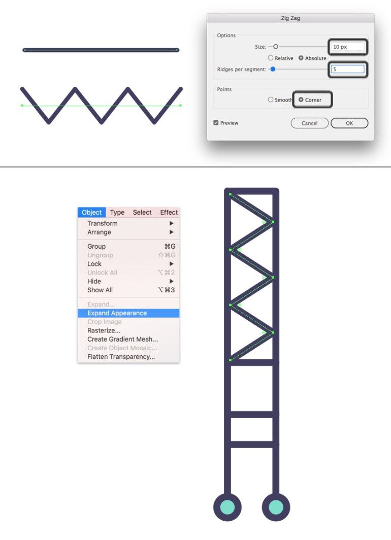make a zigzag effect