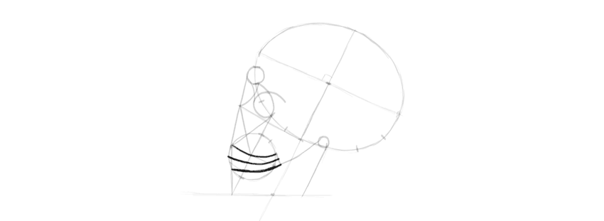desenho de linhas de dentes de caveira
