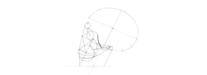 desenho crânio olho soquete detalhes