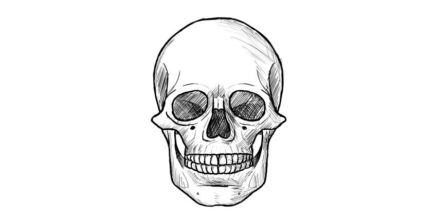 como desenhar um crânio