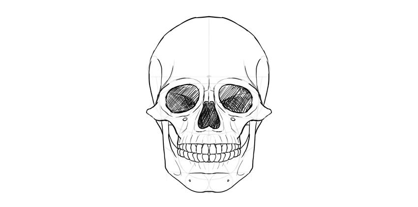 olhos de crânio humano sombreados