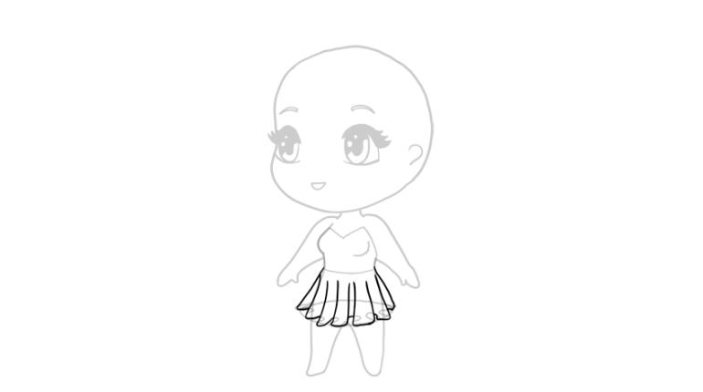 drawing chibi skirt dress