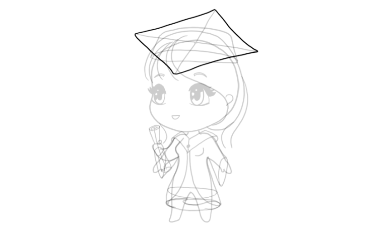drawing chibi academic cap
